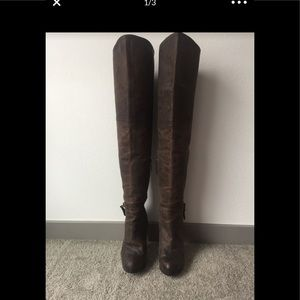6.5 Brown Leather Over the Knee Guess Boots